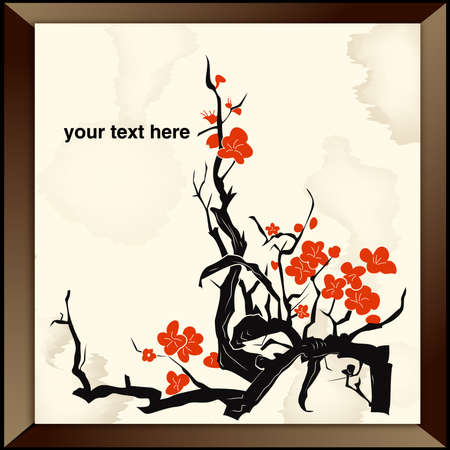 korean traditional: Bamboo - Chinese Painting Illustration