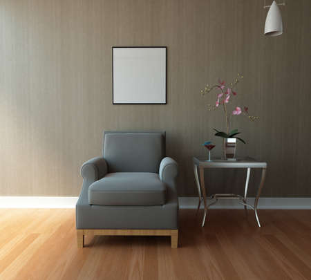 modern living room: 3d rendering of modern living room interior  Stock Photo