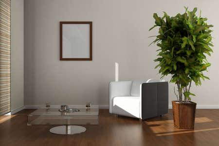 Potted plants: 3d rendering of modern living room interior  Stock Photo