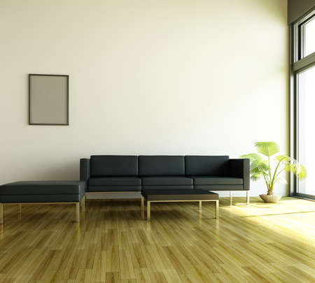 settee: 3d rendering of modern living room interior  Stock Photo