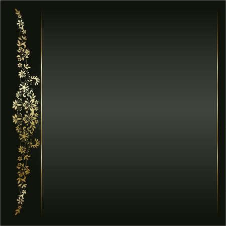 black metallic background: Artistic flower golden background for your text Illustration