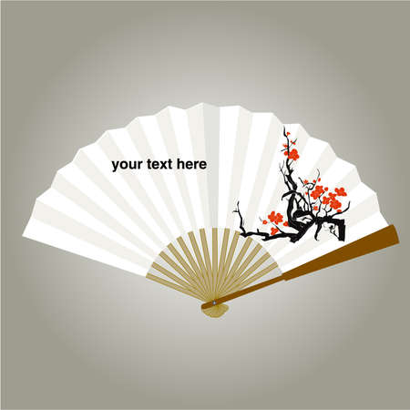 chinese fan painping vector Backgrounds Vector