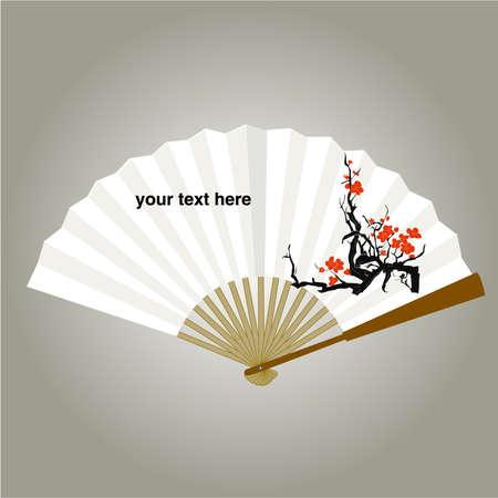 plat chinois: �ventail chinois painping Milieux vecteur Illustration