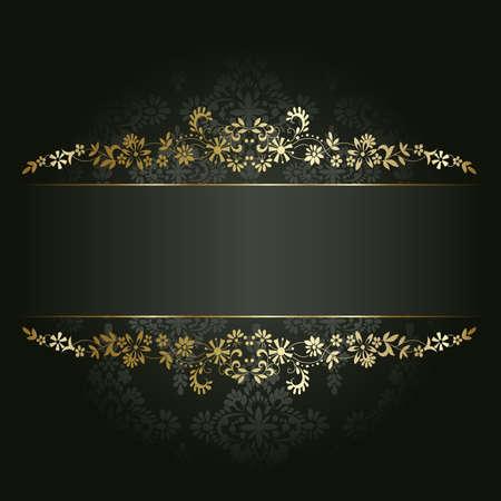 elegante: Artistico sfondo fiore d'oro per il tuo testo