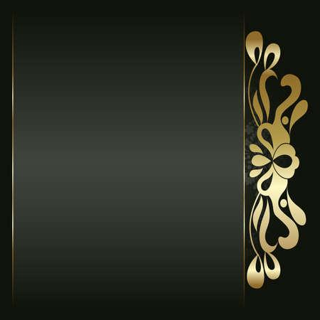 gold swirls: Artistic flower golden background for your text Illustration