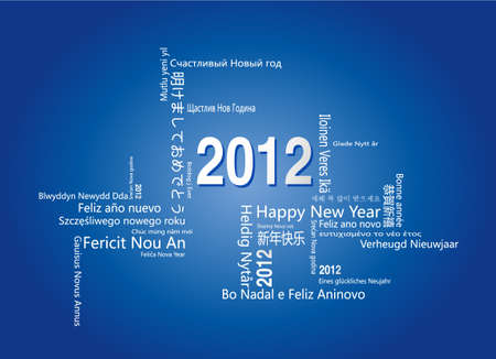 said: 28 languages said Happy New Year in 2012.-Design and typography background. Illustration