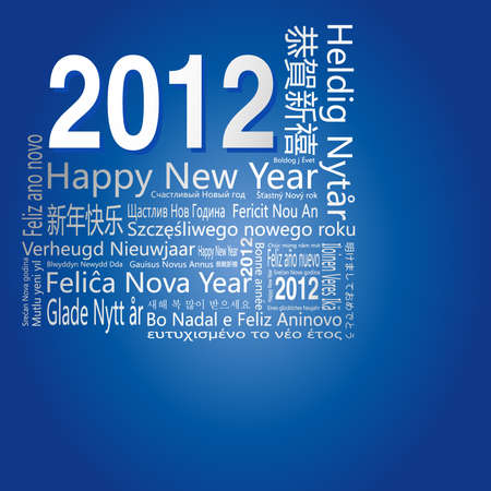 28 languages said 'Happy New Year' in 2012.-Design and typography background. Vector