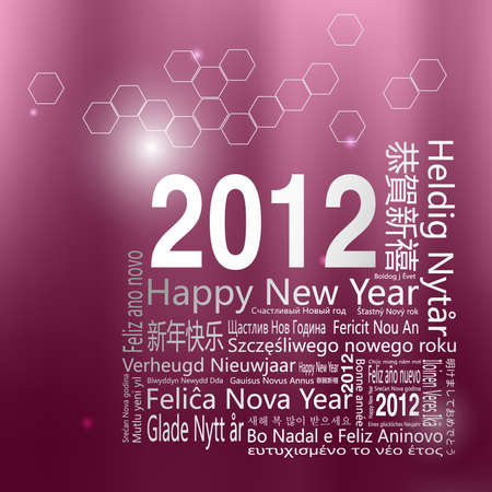 28 languages said Happy New Year in 2012.-Design and typography background. Vector