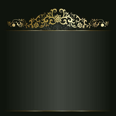 invitation background: Artistic flower golden background for your text Illustration