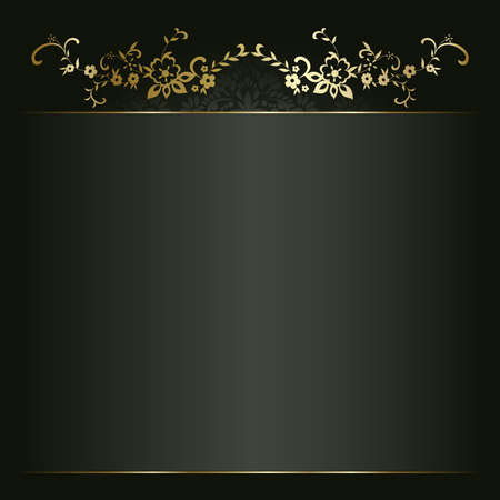 your text: Artistic flower golden background for your text Illustration
