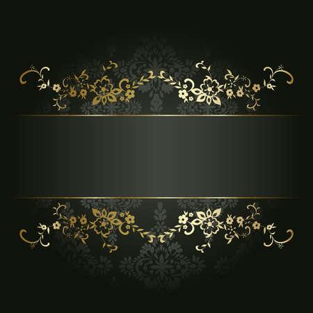artistic flower: Artistic flower golden background for your text Illustration
