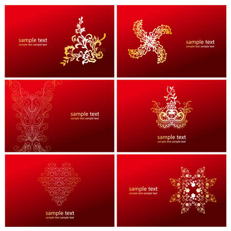 golden flower with red card,6 in 1  Vector