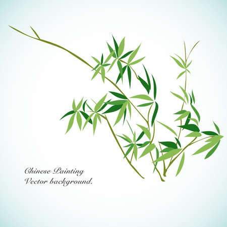 korea food: Bamboo - Chinese Painting Vector Background. Illustration