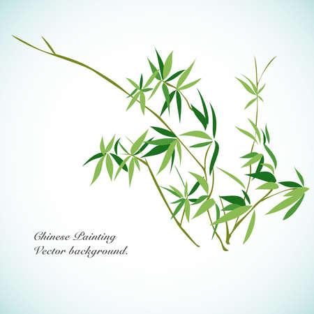 Bamboo - Chinois Contexte Vecteur peinture.