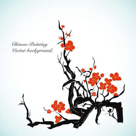 chinese writing: Bamboo - Chinese Painting Vector Background. Illustration