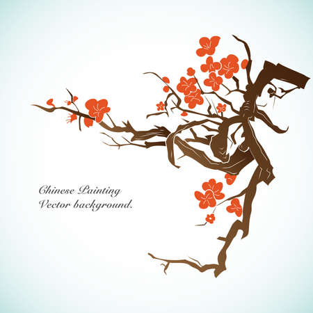 korean culture: Bamboo - Chinese Painting Vector Background. Illustration