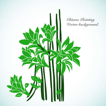 art painting: Bamboo - Chinese Painting Vector Background. Illustration