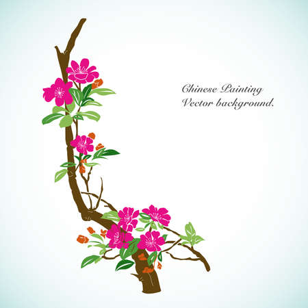 chinese flower: Bamboo - Chinese Painting Vector Background. Illustration
