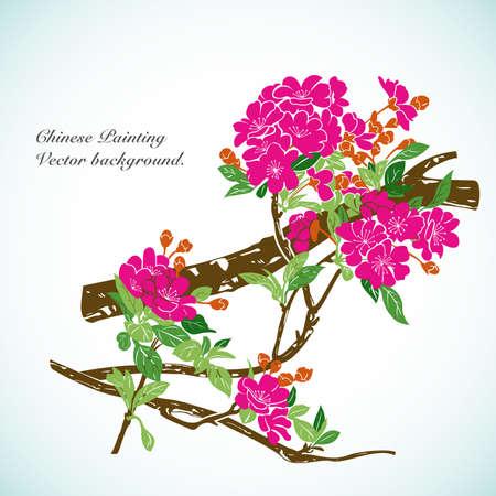 flores chinas: Bamb� - Fondo Chino Vector pintura.