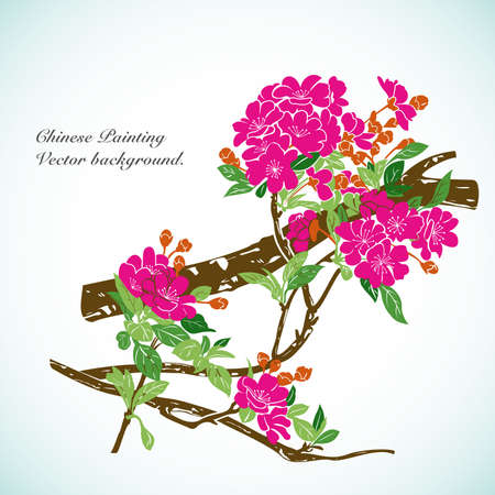 chinese art: Bamboo - Chinese Painting Vector Background. Illustration