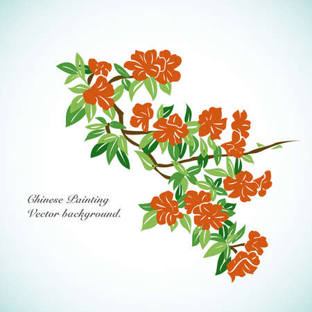 chinese new year card: Bamboo - Chinese Painting Vector Background. Illustration