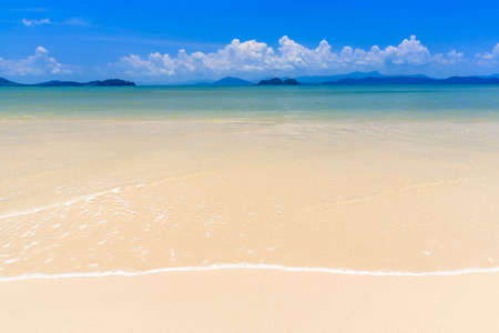 White sand beach on tropical island, Koh Payam, Ranong, Thailand photo