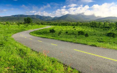 thailand view: Beautiful countryside road under blue sky