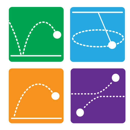 Physics motion flat icon with colorful background