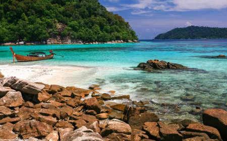 Beautiful sea and beach at tropical island, Koh Lipe, Andaman Sea, Thailand photo