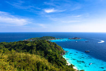 Aerial view of a beach from viewpoint of similan island, Thailand photo