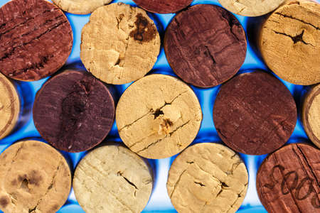 Close up of a cork wine with different variation of wine color photo