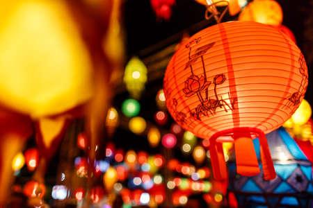 asian culture: Beautiful international lantern illuminating in night time Stock Photo
