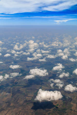 Aerial view of clouds and village landscape, Thailand photo