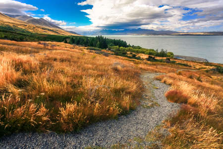 tekapo: Landscapes viewed of lake Tekapo from viewpoint, New Zealand Stock Photo