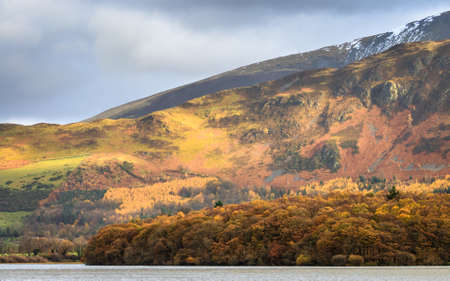 Autumn mountain lake landscape on a cloudy day, Lake District, United Kingdom photo