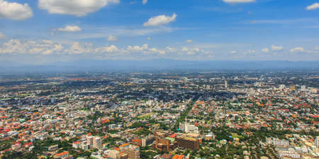 mai: Aerial view from plane of Chiang Mai City, Thailand