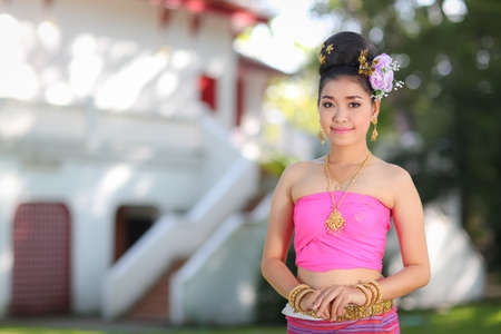 thai dancing: Thai dancing girl with northern style dress in temple, Chiang Mai, Thailand