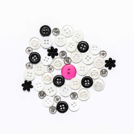 bottons: Group of buttons spread on isolated white background Stock Photo