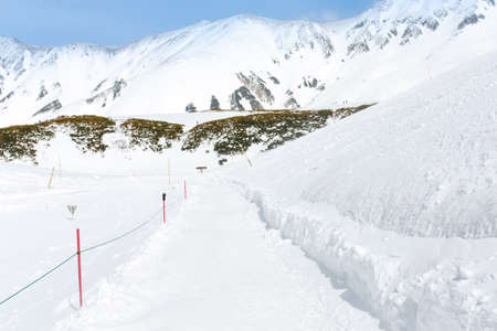 ski walking: Snow walking path in to the snow mountain for ski player, Tatayama, Japan