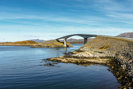 Atlantic ocean road under blue sky, Norway