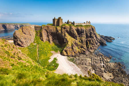Dunnottar Castle with clear sky in Stonehaven, Aberdeen, Scotland, UK