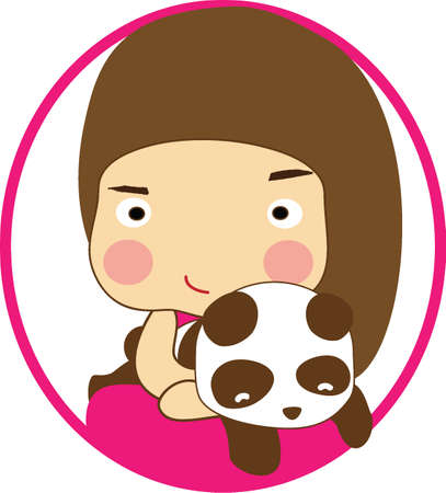 cute girl with long hair: long brown hair little girl in pink dress carry panda