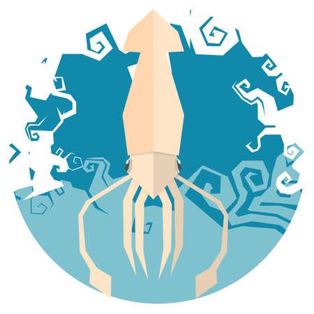 mollusc: squid icon vector