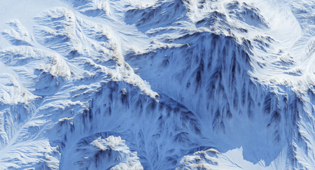 Snow Covered Rocky Mountains 3D Rendering Stock Photo