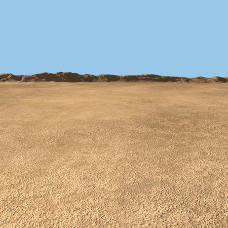 3D Rendering Of Desert Landscape With Mountain Range Over Blue Background