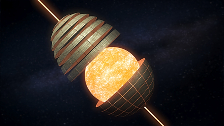 Dyson sphere 3D rendering - a hypothetical mega structure that completely encompasses a star