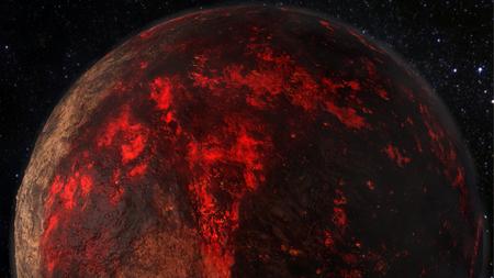 Lava Planet - Planet 55 Cancri e 3D rendering Stok Fotoğraf