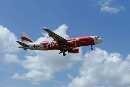 17th: Kuala Lumpur, Malaysia, 17th Feb 2017, Air Asia aircraft on landing approach at the airport