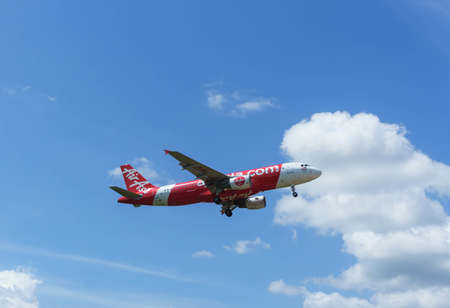 Kuala Lumpur, Malaysia, 17th Feb 2017, Air Asia aircraft on landing approach at the airport