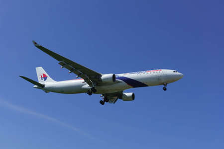 17th: kuala Lumpur, Malaysia, 17th Feb 2017, Malaysia Airlines aircraft on landing approach at the airport